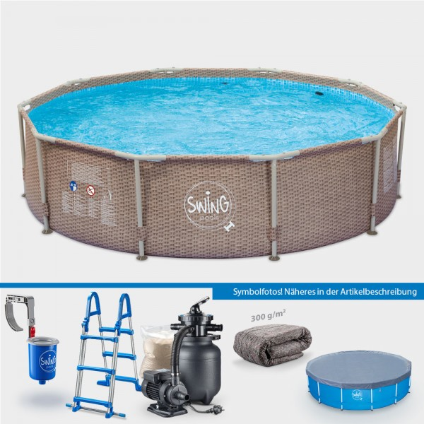 Frame Pool POLE Wicker Rund 305 x 76 cm PROTECT PLUS-Set