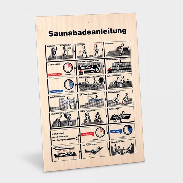 Sauna-Baderegeltafel Holz