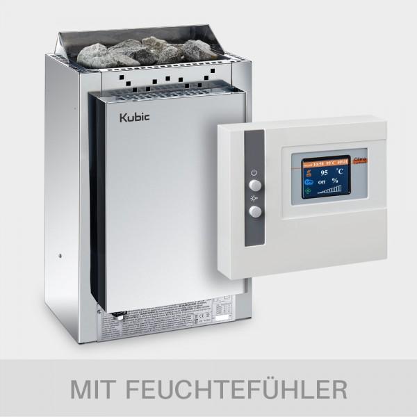 Saunaofen-Set Harvia Kubic Combi 9 kW 400 V + Steuerung POOLSANA Clima Lux Touch mit Feuchtefühler