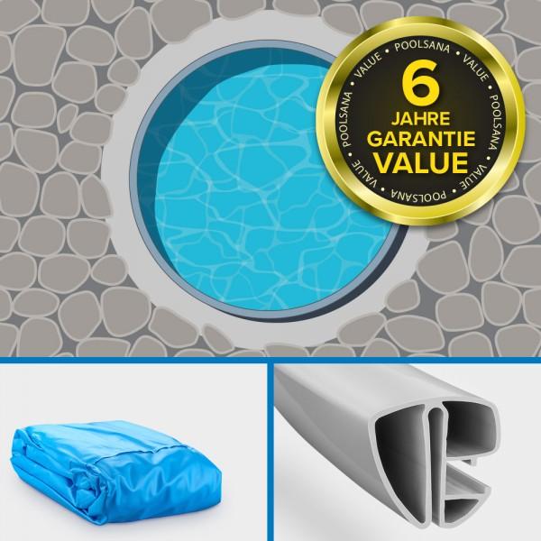 Einzelbecken Stahlwand-Rundpool PS VALUE 3,60 x 1,20 m | Folie blau + Handlauf grau