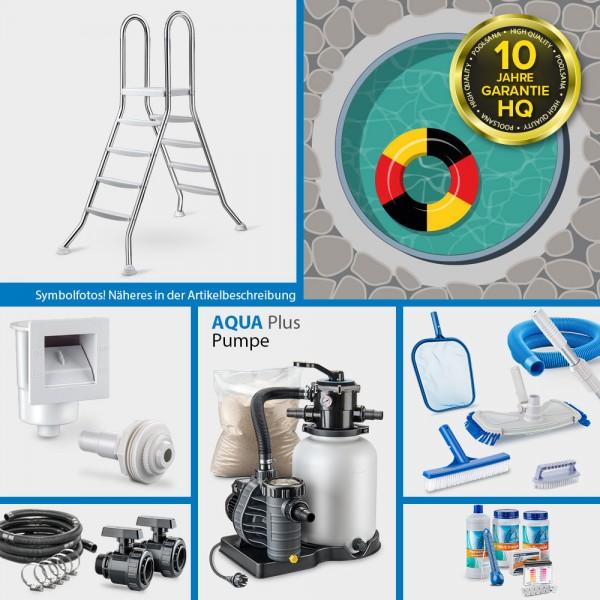 Rundpool PS HQ 5,00 x 1,50 m | Alu-Handlauf | Folie 0,8mm sand PLUS-Set | Teileinbau