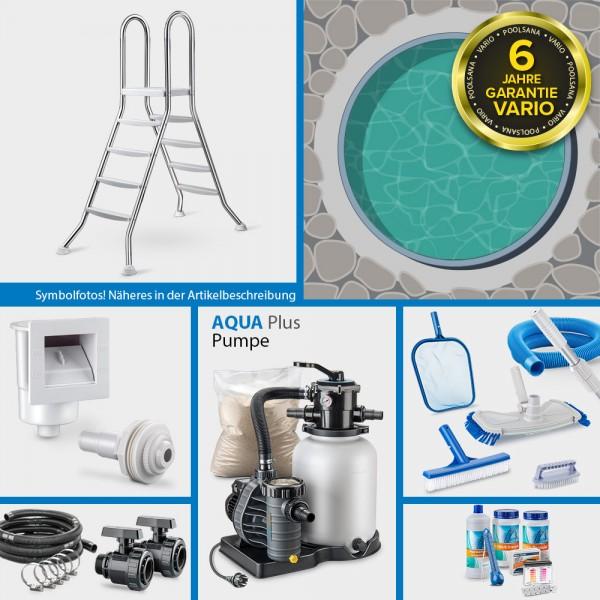Rundpool PS VARIO 5,00 x 1,20 m Folie sand + Alu Handlauf COMFORT-Set | Freiaufstellung/Teileinbau