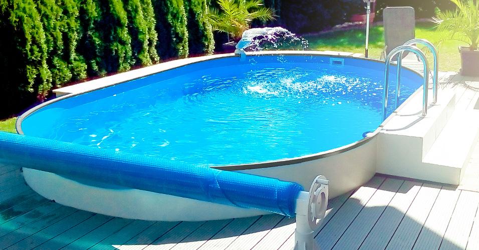 Stahlwandpool oval 8 00 x 4 00 x 1 50 m mit alu handlauf for Pool aufstellbar
